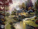 Cottage paintings - Stillwater Cottage by Thomas Kinkade