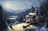 Thomas Kinkade Sunday Evening Sleigh Ride painting