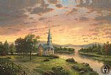 Thomas Kinkade Sunrise Chapel painting
