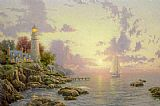 Lighthouse paintings - The Sea Of Tranquility by Thomas Kinkade