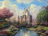 Thomas Kinkade a new day at the Cinderella's castle painting