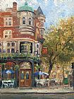 Thomas Kinkade bloomsbury cafe painting