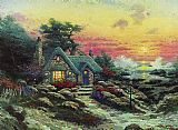 Beach paintings - cottage by the sea by Thomas Kinkade