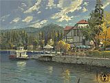 Mediterranean paintings - lake arrowhead by Thomas Kinkade