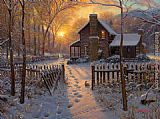 Thomas Kinkade welcome winter painting