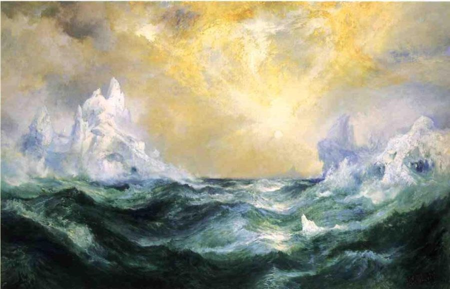 Thomas Moran Icebergs in Mid-Atlantic