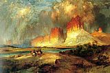 Hunting paintings - Cliffs of the Upper Colorado river by Thomas Moran