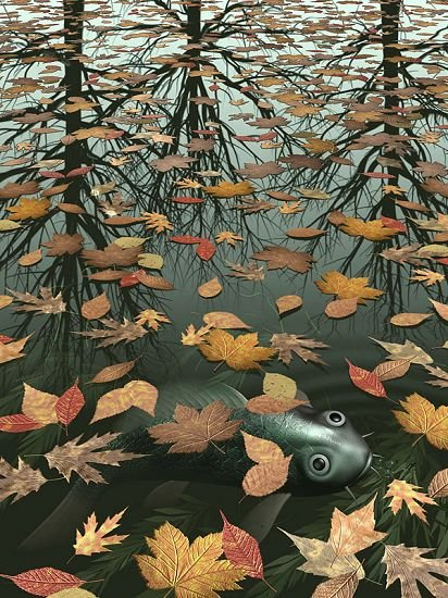 Unknown artist mc escher three worlds i painting best for Best mural artists
