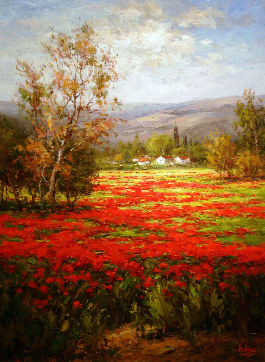 Unknown artist poppy field splendid pathway painting for Prints of famous paintings for sale