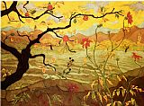 Unknown Artist Apple Tree with Red Fruit painting