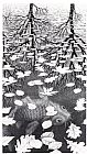 Unknown Artist MC Escher Three Worlds painting