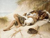 Unknown Artist Margaret Collyer Young Boy Asleep with Dogs painting