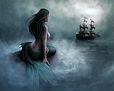 Unknown Artist Mermaid and pirate ship painting