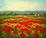 Unknown Artist Poppy field painting