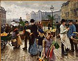 Unknown Artist Poul Fischer Hojbroplads in april painting