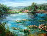 palette knife paintings - Stephen Shortridge Lilacs by Unknown Artist