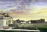 Unknown Artist kenneth reed sunset at saint andrews old course painting