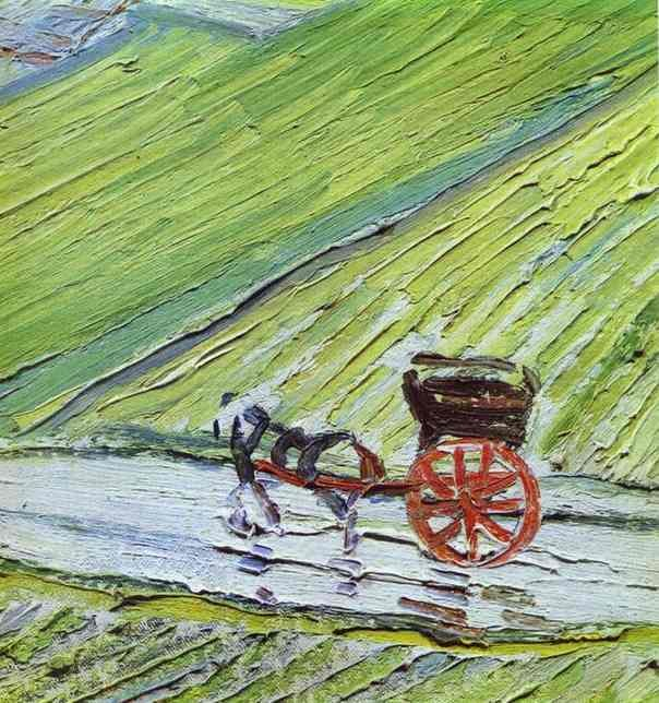 Vincent van Gogh A Road in Auvers after the Rain detail