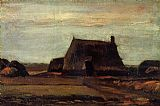Vincent van Gogh Farmhouse with Peat Stacks painting