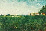 Vincent van Gogh Farmhouses in a Wheat Field Near Arles painting