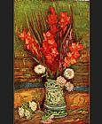Still Life with red gladioli