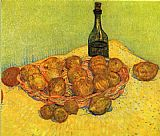 Still life with a bottle of lemons and oranges