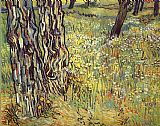 Vincent van Gogh Tree trunks painting