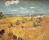 Vincent van Gogh Wheat Stacks with Reaper painting