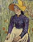 Vincent van Gogh Young Peasant Woman with Straw Hat Sitting in the Wheat painting