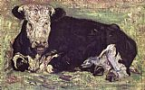 Vincent van Gogh lying cow painting
