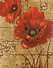 Vivian Flasch Poppies on Gold II painting