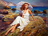 Beach paintings - By the Seaside by Vladimir Volegov