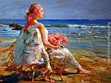 Beach paintings - Lost in Thought by Vladimir Volegov