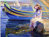 Beach paintings - Malta Waterfront by Vladimir Volegov