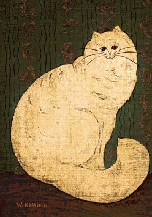 Warren Kimble White Persian Cat Painting