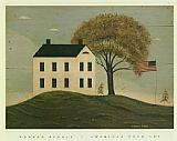 Warren Kimble House with Flag painting