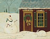 Warren Kimble House with Snowman painting