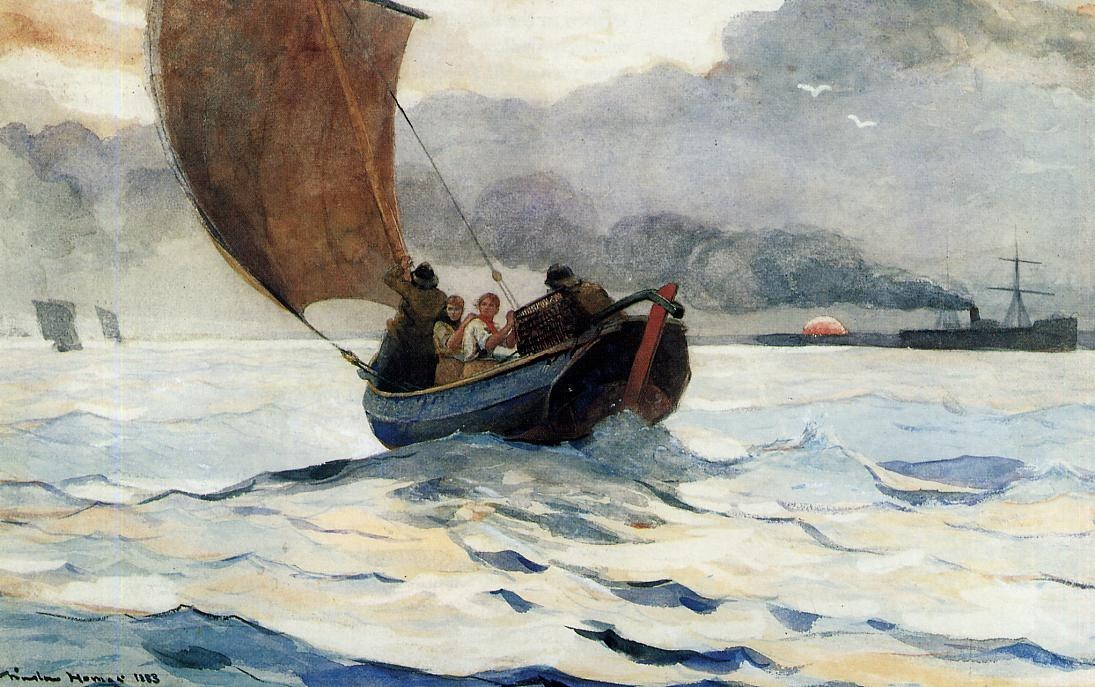 Winslow homer returning fishing boats painting best for Fishing boat painting