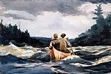 Winslow Homer Canoe in the Rapids painting