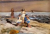 Beach paintings - Children on the Beach by Winslow Homer