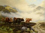 Wright Barker Highland Cattle in a Pass painting