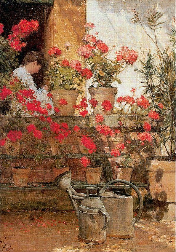 childe hassam Geraniums