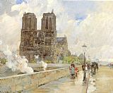 childe hassam Notre Dame Cathedral Paris painting