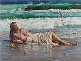 Beach paintings - nude on the beach by Guan zeju