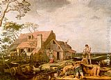 Abraham Bloemaert Landscape with Peasants Resting painting