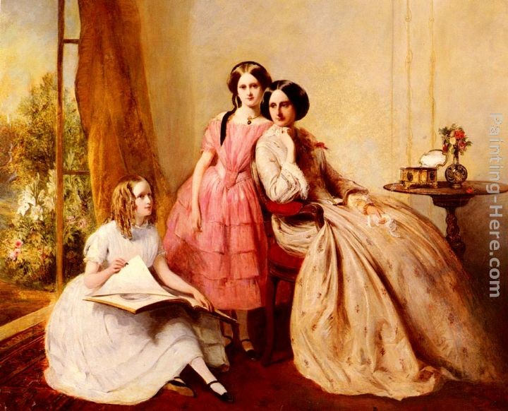 Abraham Solomon A Portrait Of Two Girls With Their Governess