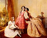 Abraham Solomon A Portrait Of Two Girls With Their Governess painting