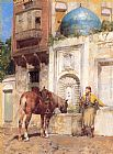 Alberto Pasini At the Well painting