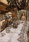 the boating party lunch Paintings - Alice in Wonderland A Mad Tea Party