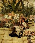 Arthur Wardle In The Conservatory painting